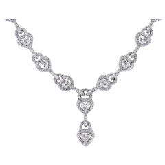 13.28 Carats Heart Shaped and Full Cut Diamonds Platinum Flexible Necklace