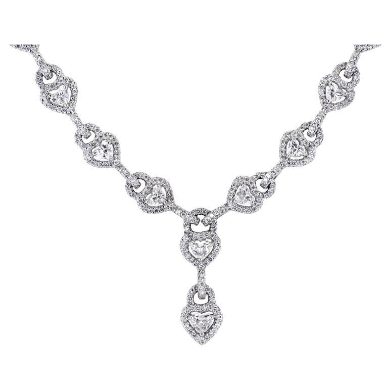 13.28 Carats Heart Shaped and Full Cut Diamonds Platinum Flexible Necklace 1