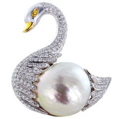 Graceful Diamond Swan Pin