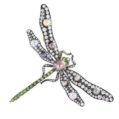 Antique Dragonfly Natural Pearl & Diamond Pin