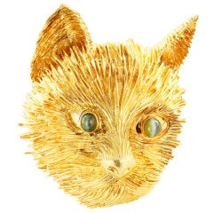 Tiffany & Co. Chrysoberyl Gold Cat Pin