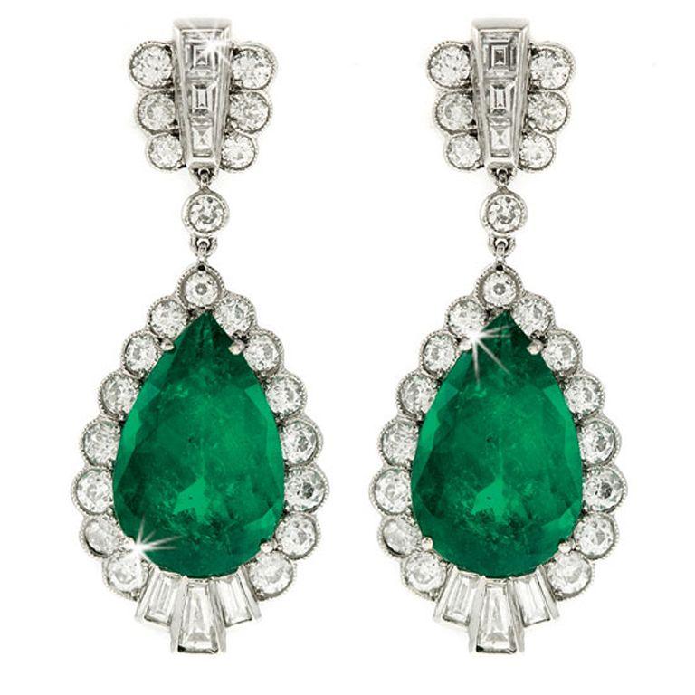 SHREVE,CRUMP & LOW Estate Collection Emerald & Diamond Earrings 1