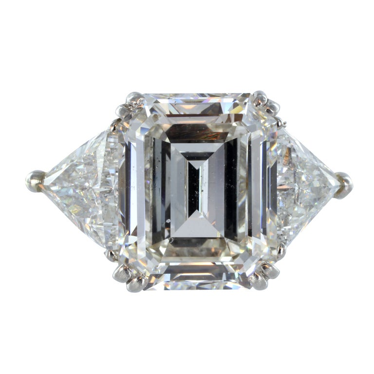 Brilliant 8 08ct Emerald Cut Diamond Three Stone Ring at 1stdibs