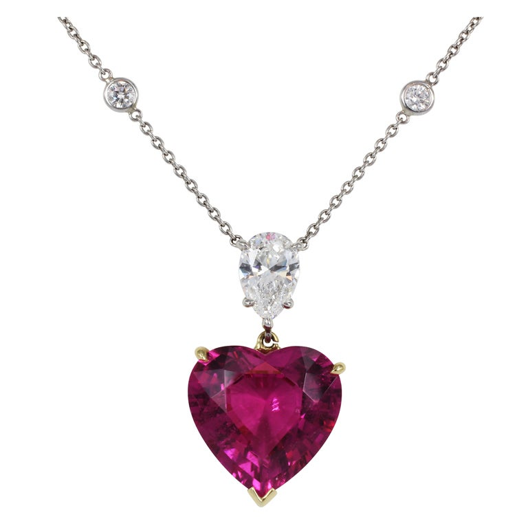8 35ct Heart Shape Pink Tourmaline And Diamond Necklace At