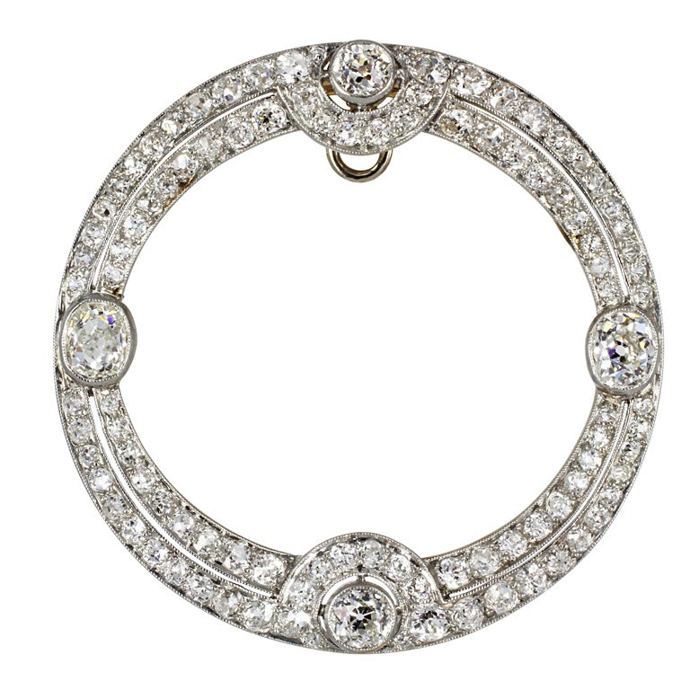 Art Deco Diamond gold platinum Circle Pin/Pendant For Sale