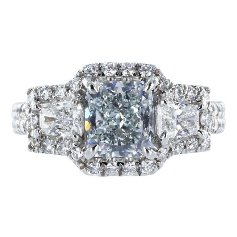 1.60ct Natural Fancy Greenish Blue Diamond Ring