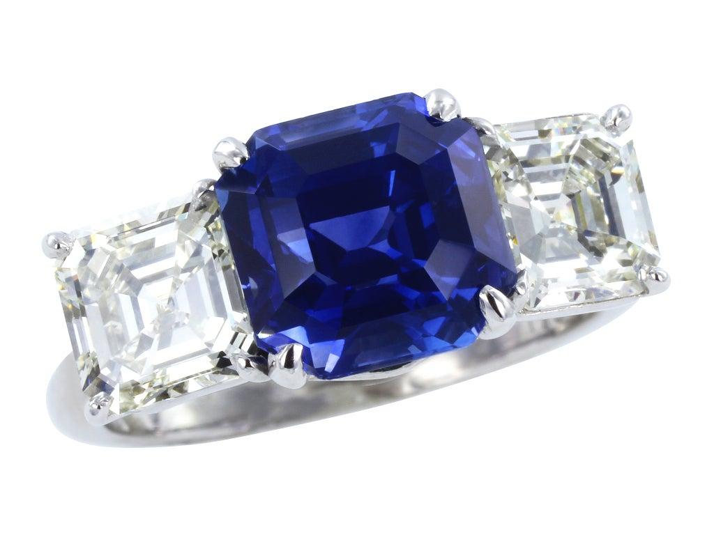 3.94ct Asscher Cut Sapphire & Diamond Three Stone Ring 2