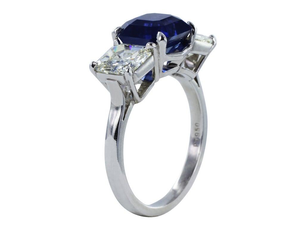 3.94ct Asscher Cut Sapphire & Diamond Three Stone Ring 3