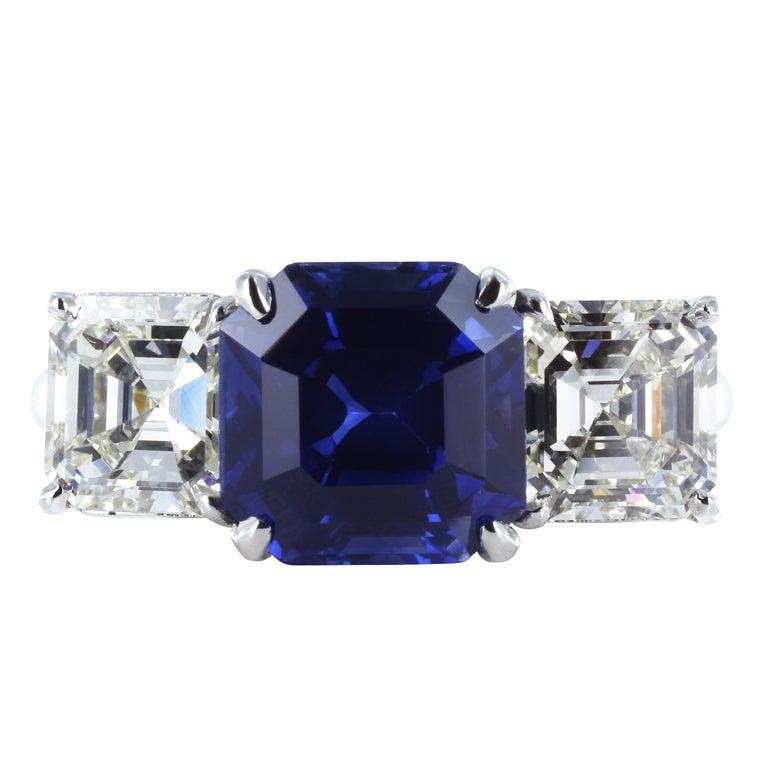 3.94ct Asscher Cut Sapphire & Diamond Three Stone Ring 1