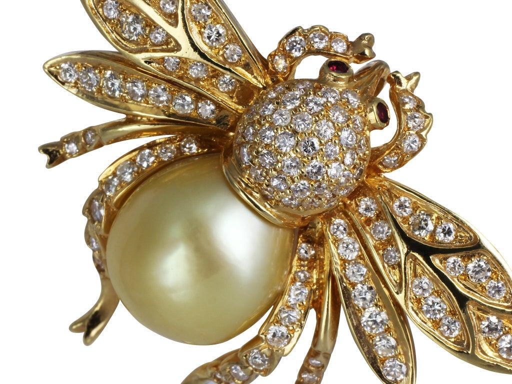 Diamond & Pearl Bee Pin image 2