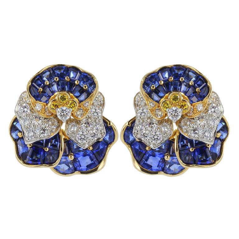 Oscar Heyman Pansy Earrings