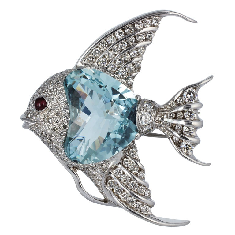 Aquamarine Ruby Diamond Gold Fish Pin 1
