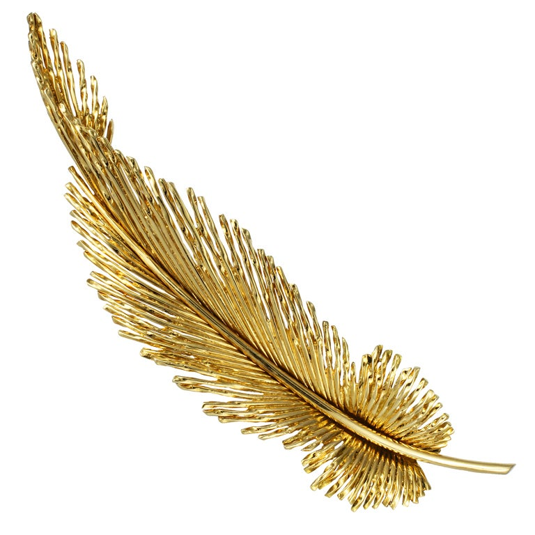 Gold Feather Brooch at 1stdibs