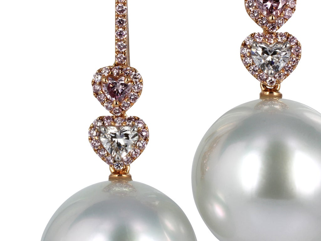 South Sea Pearl Pink Diamond Drops 2
