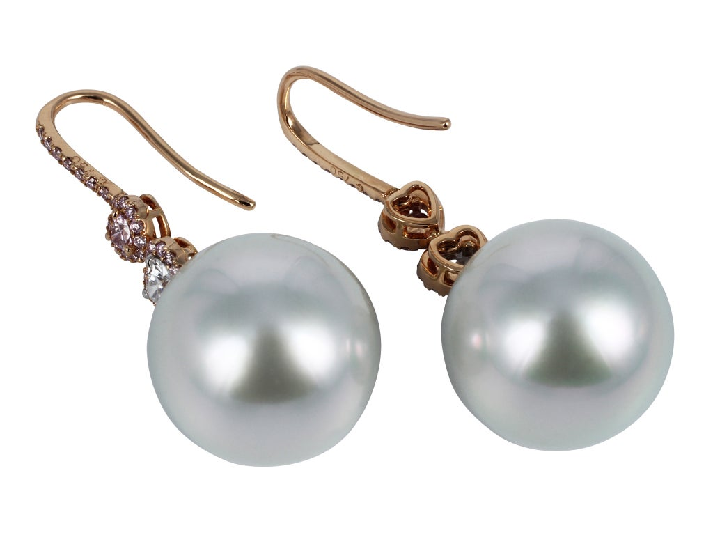 South Sea Pearl Pink Diamond Drops In Excellent Condition For Sale In Chestnut Hill, MA