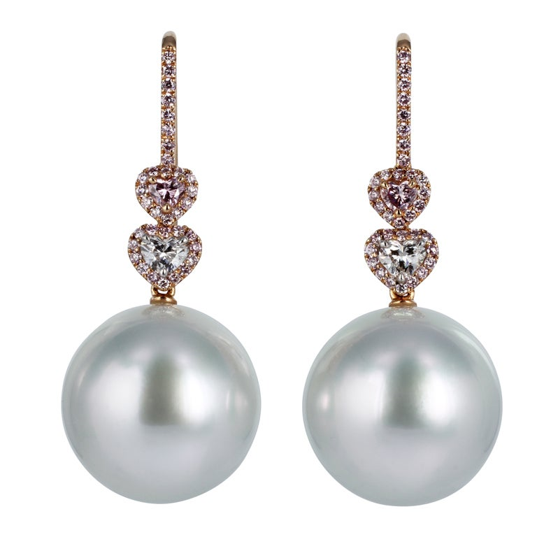 South Sea Pearl Pink Diamond Drops 1
