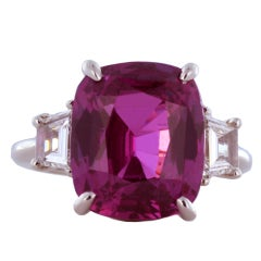 GRS Certified 9.69 Carat Pink Sapphire and Diamond Ring