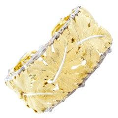 Buccellatti Leaf Motif Cuff Bracelet