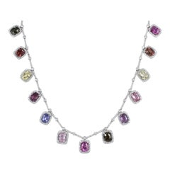 40.69 Carat Multi-Colored Sapphire And Diamond Necklace