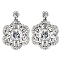 Diamond Floral Cluster Earrings