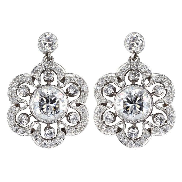 Diamond Floral Cluster Earrings 1