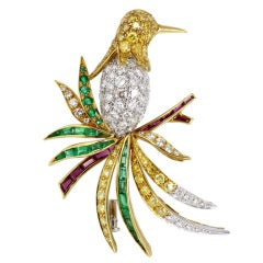 Ambrosi Gem Set Bird Brooch