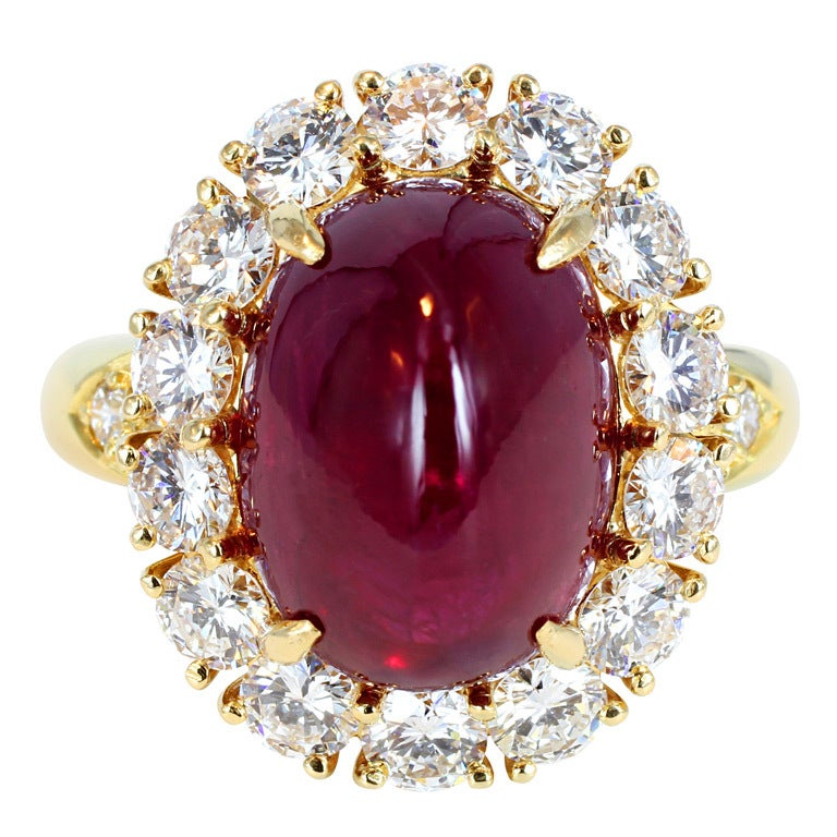 Van Cleef And Arpels Cabochon Ruby And Diamond Ring At 1stdibs