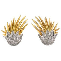 Diamond Gold Platinum Clip Wing Earrings