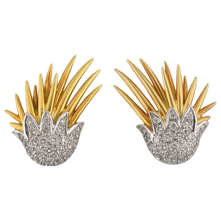 Diamond Gold Platinum Clip Wing Earrings