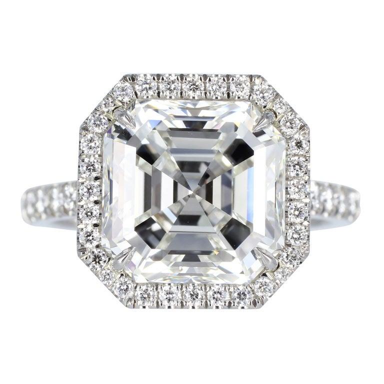 5 19 Carat Asscher Cut Diamond Platinum Solitaire Engagement Ring at 1stdibs