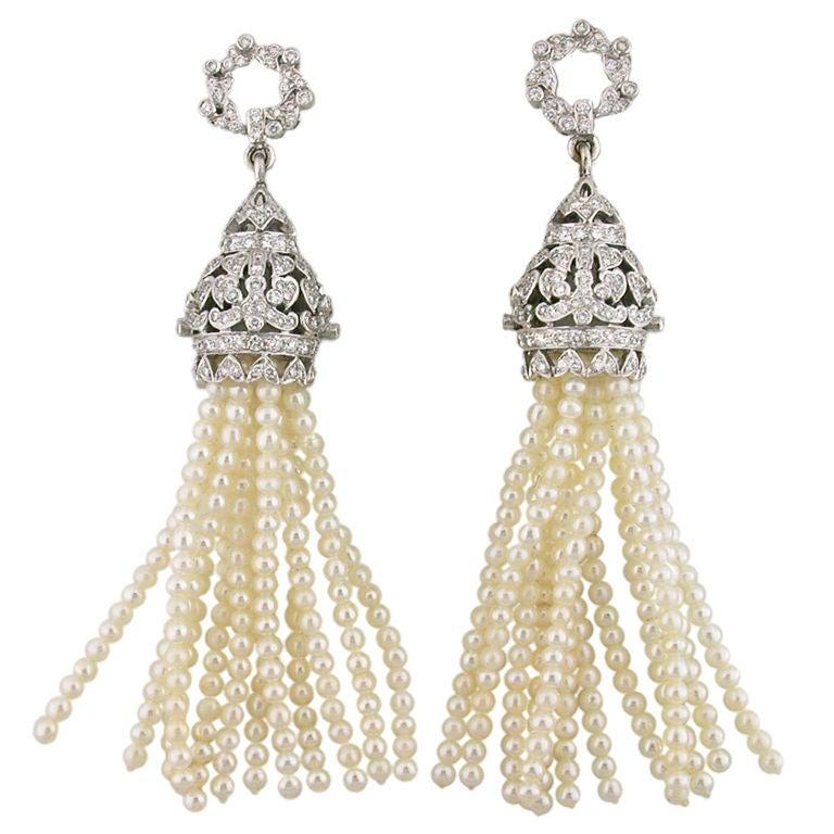 Diamond and Pearl Tassel Earrings 1