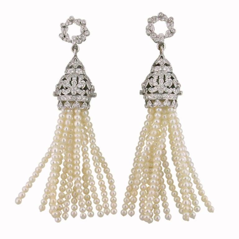 Diamond and Pearl Tassel Earrings 2