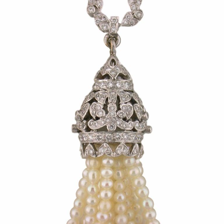 Diamond and Pearl Tassel Earrings 3