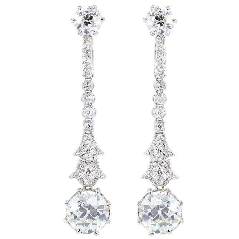 Old European Diamond Drop Earrings