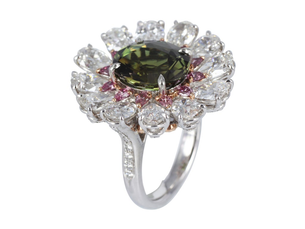 Carat alexandrite fancy diamond gold platinum ring at for What is platinum jewelry made of