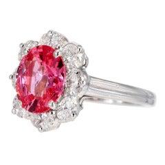 Oscar Heyman Padparadscha Sapphire Diamond Platinum Ring