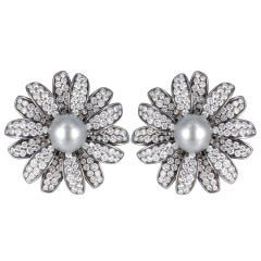 Diamond and Tahitian Pearl Daisy Earrings