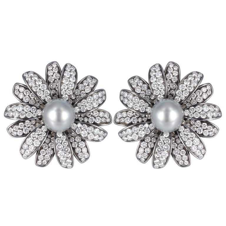 Diamond and Tahitian Pearl Daisy Earrings For Sale