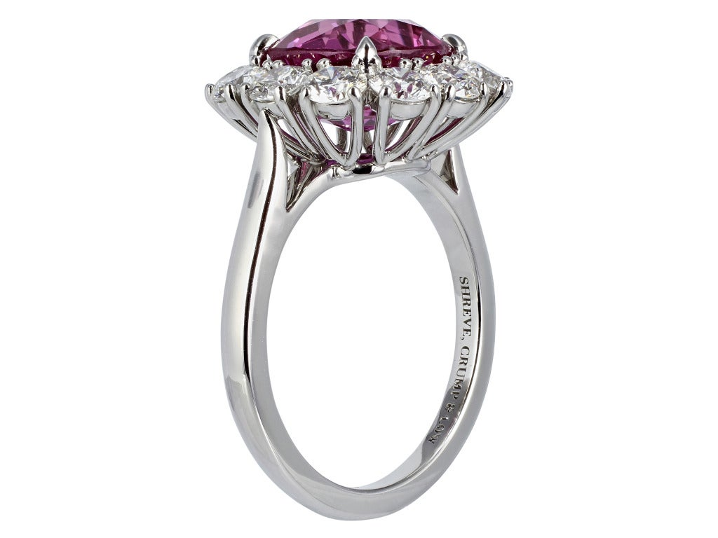 Contemporary 5.16 Carat Ceylon GIA Certified Pink Sapphire Diamond Platinum Cluster Ring For Sale
