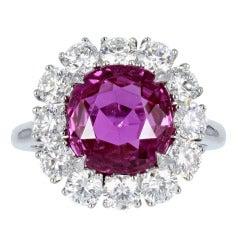 5.16 Carat Ceylon GIA Certified Pink Sapphire Diamond Platinum Cluster Ring