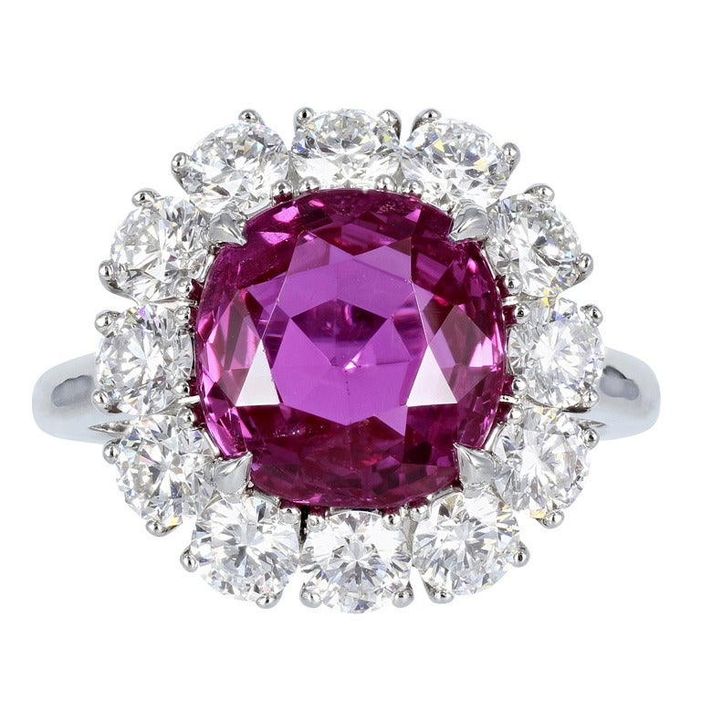 5.16 Carat Ceylon GIA Certified Pink Sapphire Diamond Platinum Cluster Ring For Sale