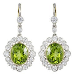 Peridot Diamond Gold Platinum Drop Earrings