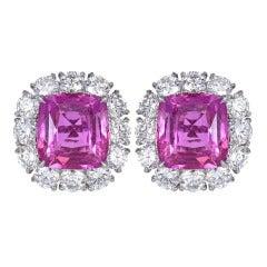 No Heat Pink Sapphire Diamond Platinum Cluster Earrings