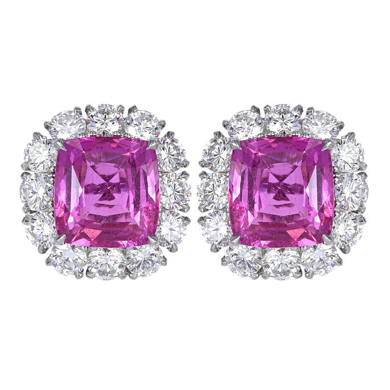 No Heat Pink Sapphire Diamond Platinum Cluster Earrings