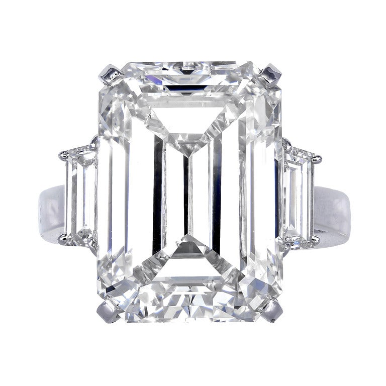 Emerald Cut Diamond Three Stone Ring at 1stdibs