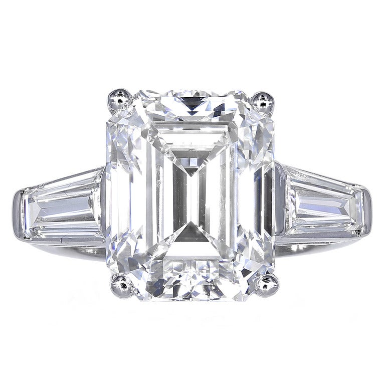 7 54 Carat Emerald Cut Diamond Three Stone Ring at 1stdibs