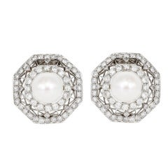 Edwardian Pearl and Diamond Earrings