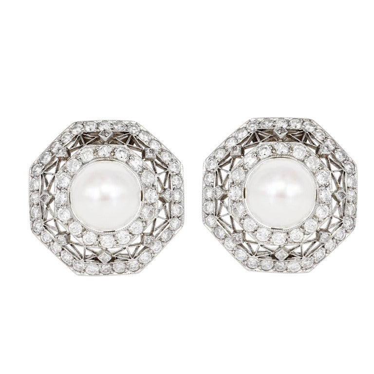Edwardian Pearl and Diamond Earrings For Sale
