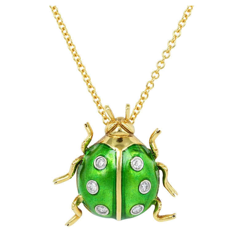 Enamel and Diamond Ladybug Pendant