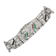 Art Deco Egyptian Revival Gem Set Diamond Platinum Flexible Bracelet
